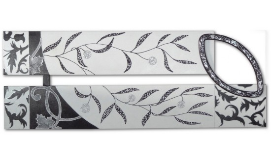 Floral black and white painting 08 020 - Cuadro blanco y negro ...